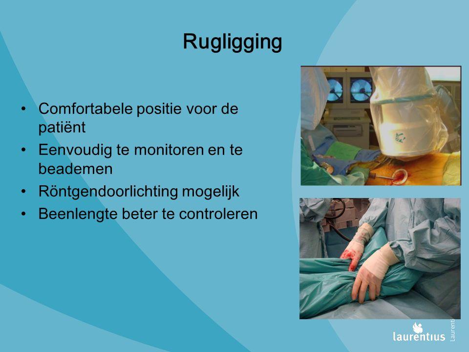 Rugligging Comfortabele positie voor de patiënt Eenvoudig te monitoren en te beademen Röntgendoorlichting mogelijk Beenlengte beter te controleren