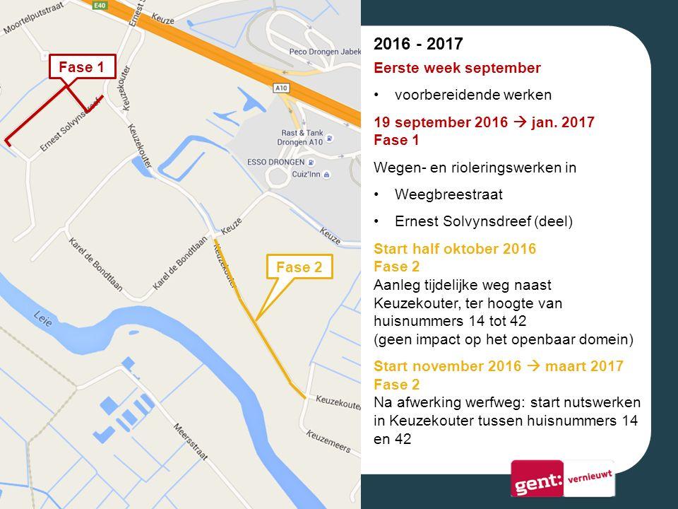 Fase 1 Fase 2 2016 - 2017 Eerste week september voorbereidende werken 19 september 2016  jan.