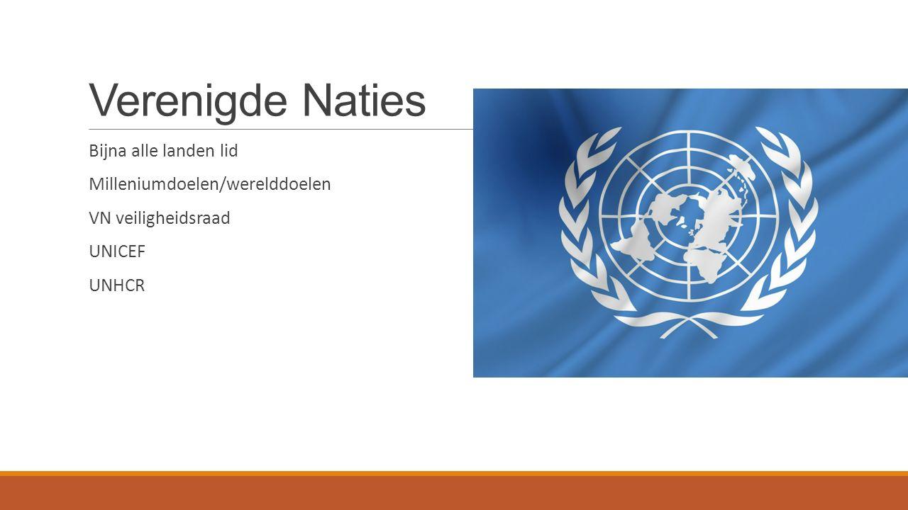 Verenigde Naties Bijna alle landen lid Milleniumdoelen/werelddoelen VN veiligheidsraad UNICEF UNHCR