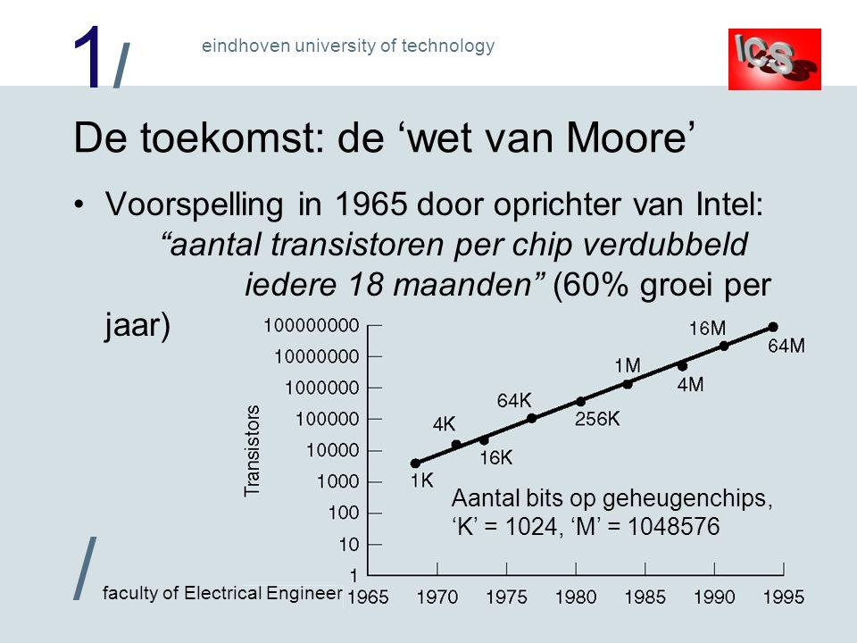 1/1/ / faculty of Electrical Engineering eindhoven university of technology De toekomst: de wet van Moore Voorspelling in 1965 door oprichter van Inte