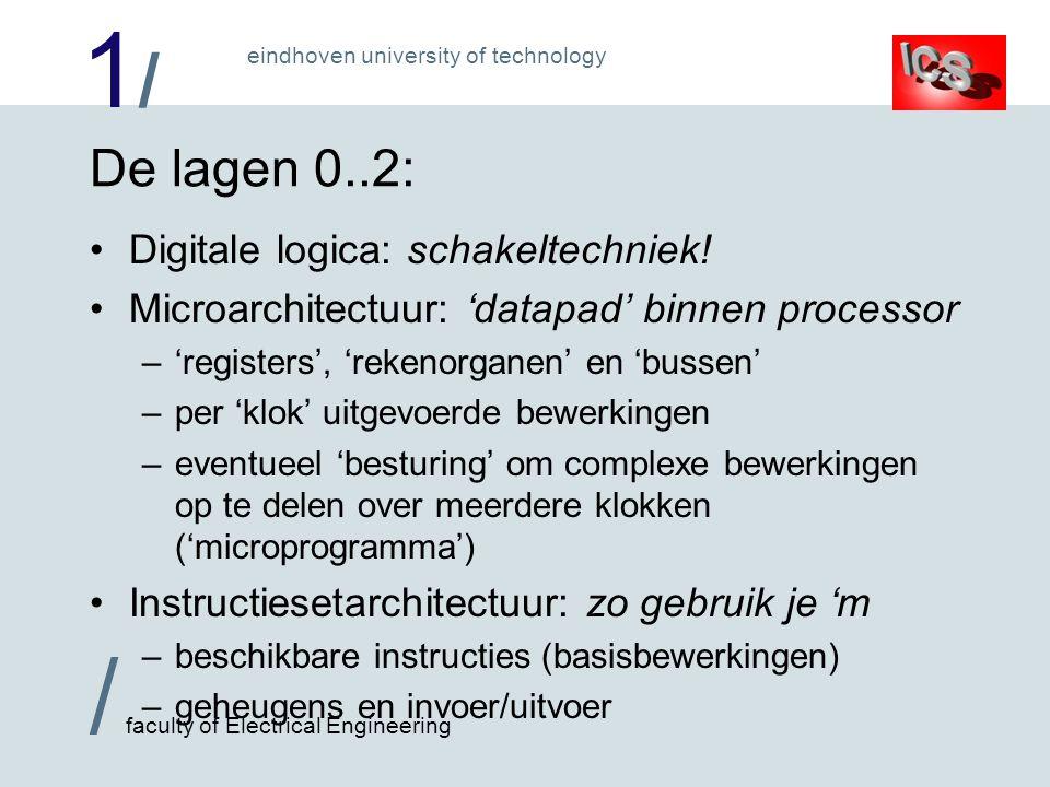 1/1/ / faculty of Electrical Engineering eindhoven university of technology De lagen 0..2: Digitale logica: schakeltechniek! Microarchitectuur: datapa
