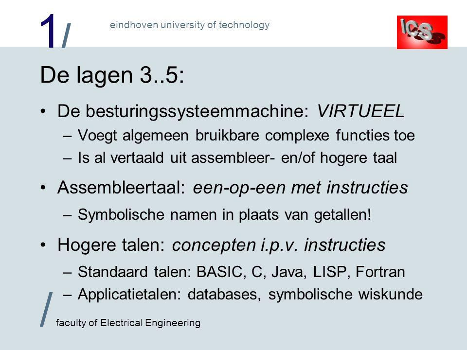 1/1/ / faculty of Electrical Engineering eindhoven university of technology De lagen 3..5: De besturingssysteemmachine: VIRTUEEL –Voegt algemeen bruik