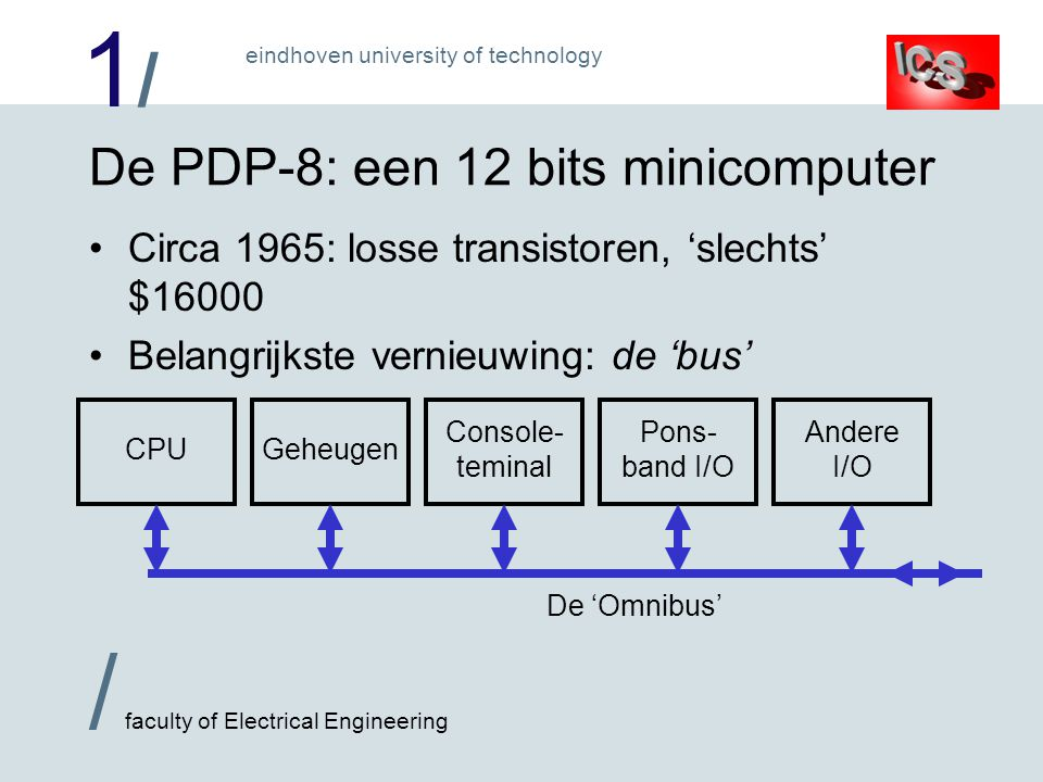 1/1/ / faculty of Electrical Engineering eindhoven university of technology De PDP-8: een 12 bits minicomputer Circa 1965: losse transistoren, slechts