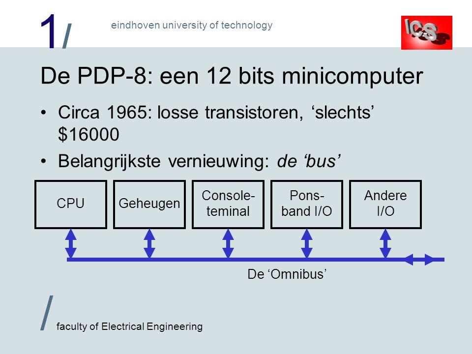 1/1/ / faculty of Electrical Engineering eindhoven university of technology De eerste microprocessor: Intel 4004 15 november 1971 2300 transistors 4 bits processor, 4096 byte programma, 640 x 4 bit gegevens 60000 instructies/sec Voor zakrekenmachine!