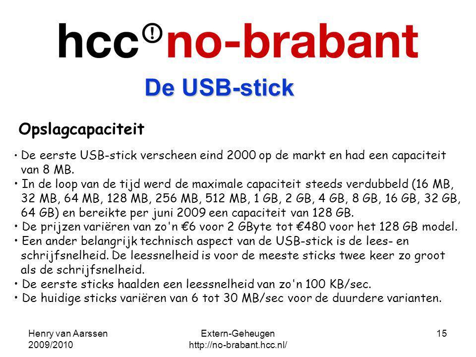 Henry van Aarssen 2009/2010 Extern-Geheugen http://no-brabant.hcc.nl/ 15 Opslagcapaciteit De eerste USB-stick verscheen eind 2000 op de markt en had e