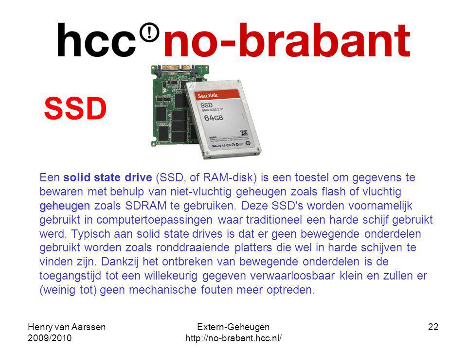 Henry van Aarssen 2009/2010 Extern-Geheugen http://no-brabant.hcc.nl/ 22 geheugen Een solid state drive (SSD, of RAM-disk) is een toestel om gegevens