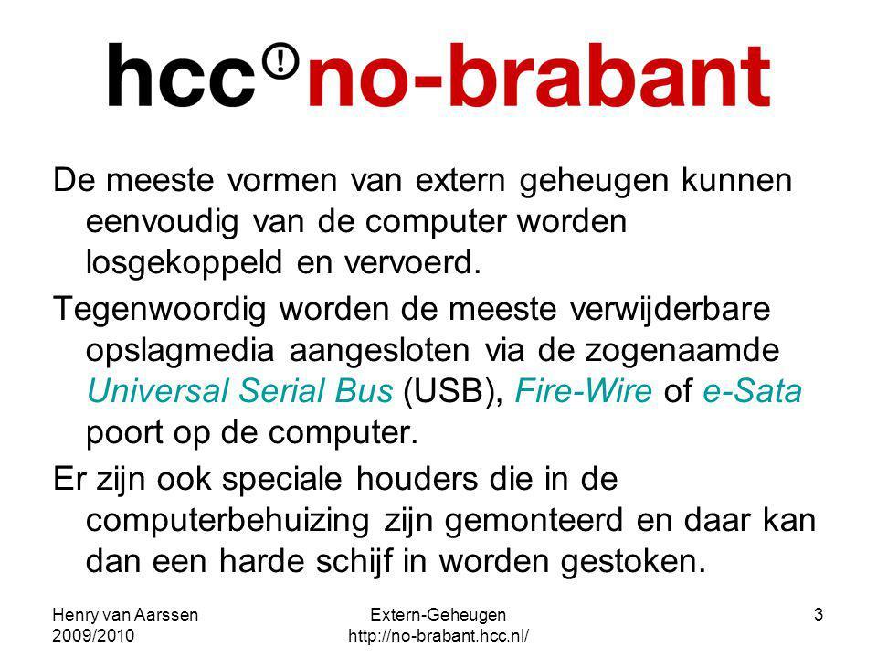 Henry van Aarssen 2009/2010 Extern-Geheugen http://no-brabant.hcc.nl/ 3 De meeste vormen van extern geheugen kunnen eenvoudig van de computer worden l