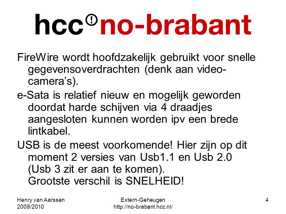 Henry van Aarssen 2009/2010 Extern-Geheugen http://no-brabant.hcc.nl/ 4 FireWire wordt hoofdzakelijk gebruikt voor snelle gegevensoverdrachten (denk a