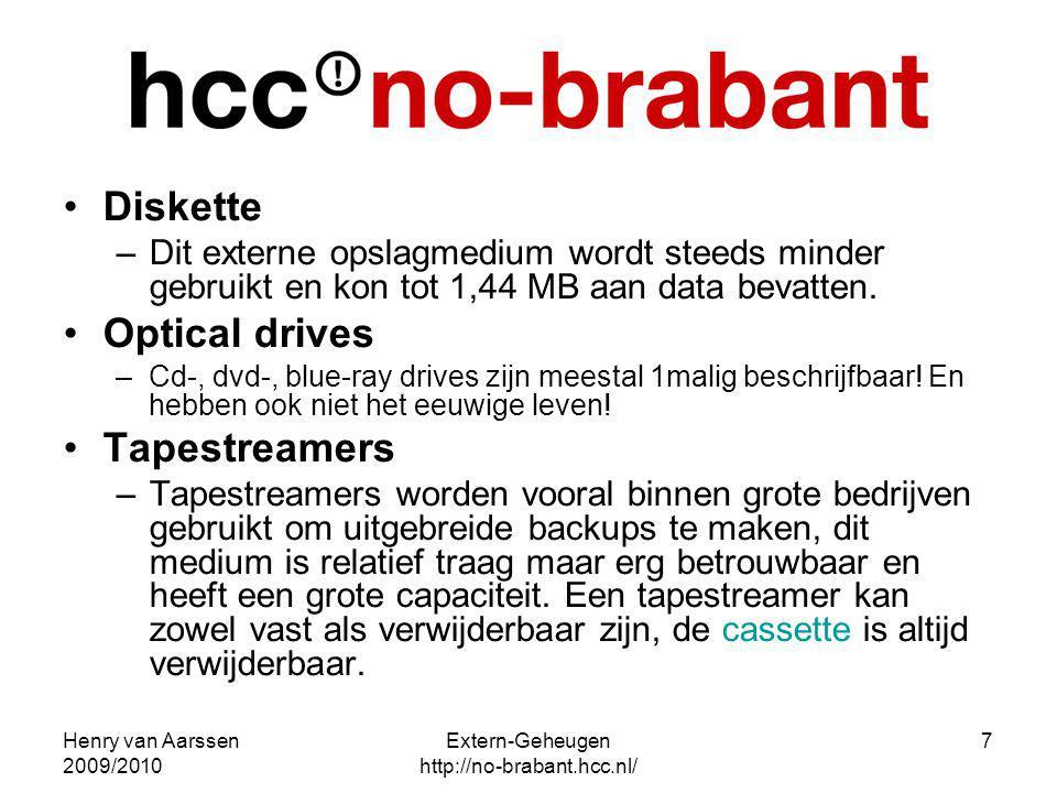 Henry van Aarssen 2009/2010 Extern-Geheugen http://no-brabant.hcc.nl/ 7 Diskette –Dit externe opslagmedium wordt steeds minder gebruikt en kon tot 1,4