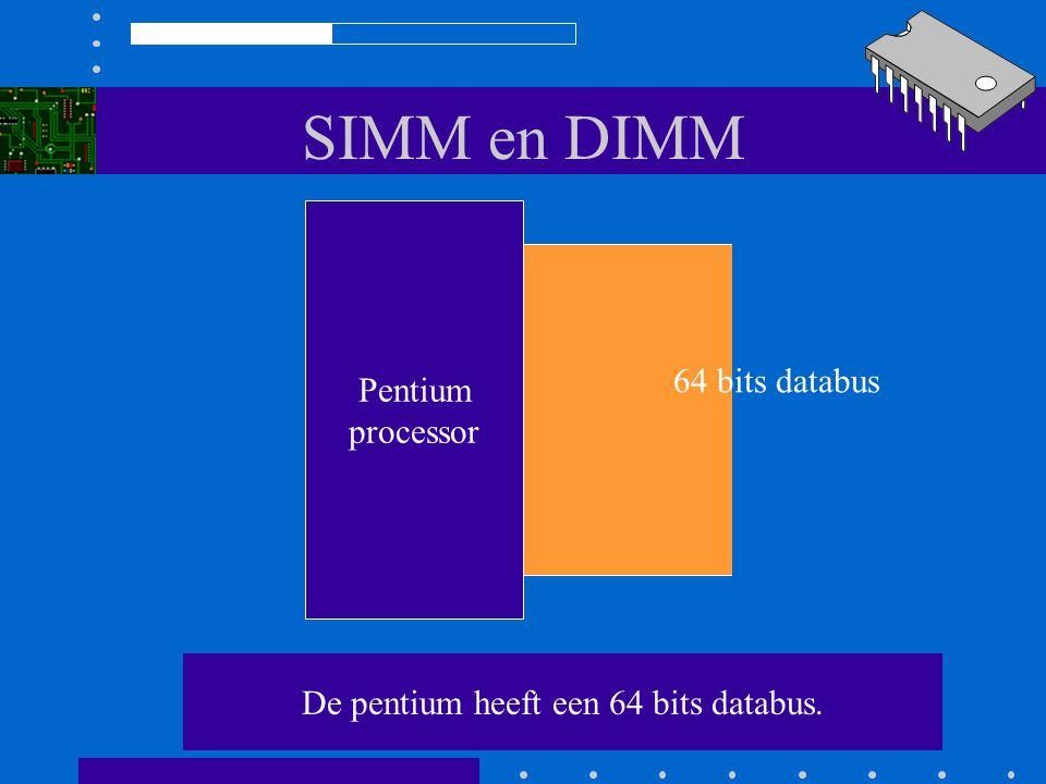 SIMM en DIMM 80486DX processor Het is onmogelijk een bank slechts half te vullen!! De computer geeft bij het opstarten een foutmelding 32 bits databus