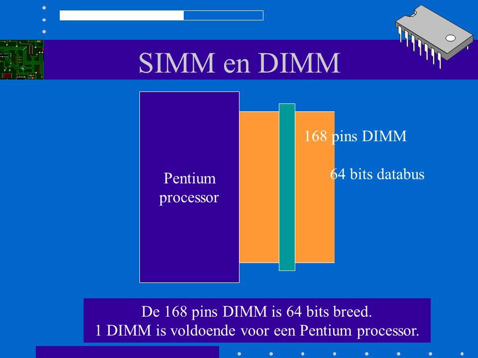 SIMM en DIMM Pentium processor De laatste ontwikkeling is de 168 pins DIMM. (Dual In line Memory Module) 64 bits databus