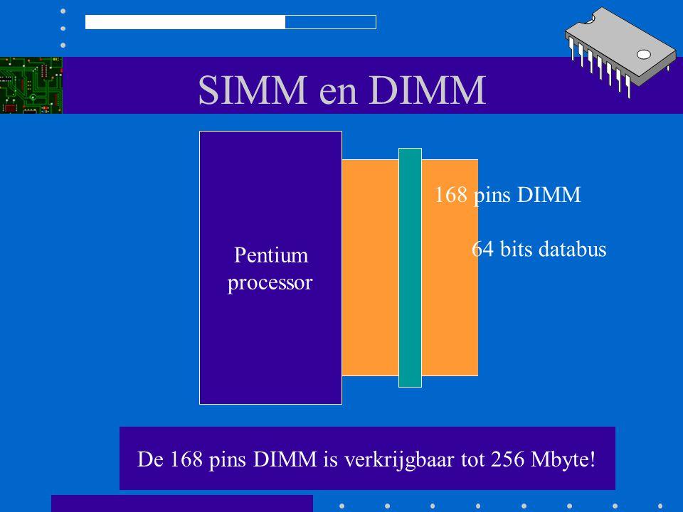 SIMM en DIMM De contacten aan beide kanten zijn niet doorverbonden. De connector werkt dubbelzijdig 64 datalijnen 168 pins DIMM