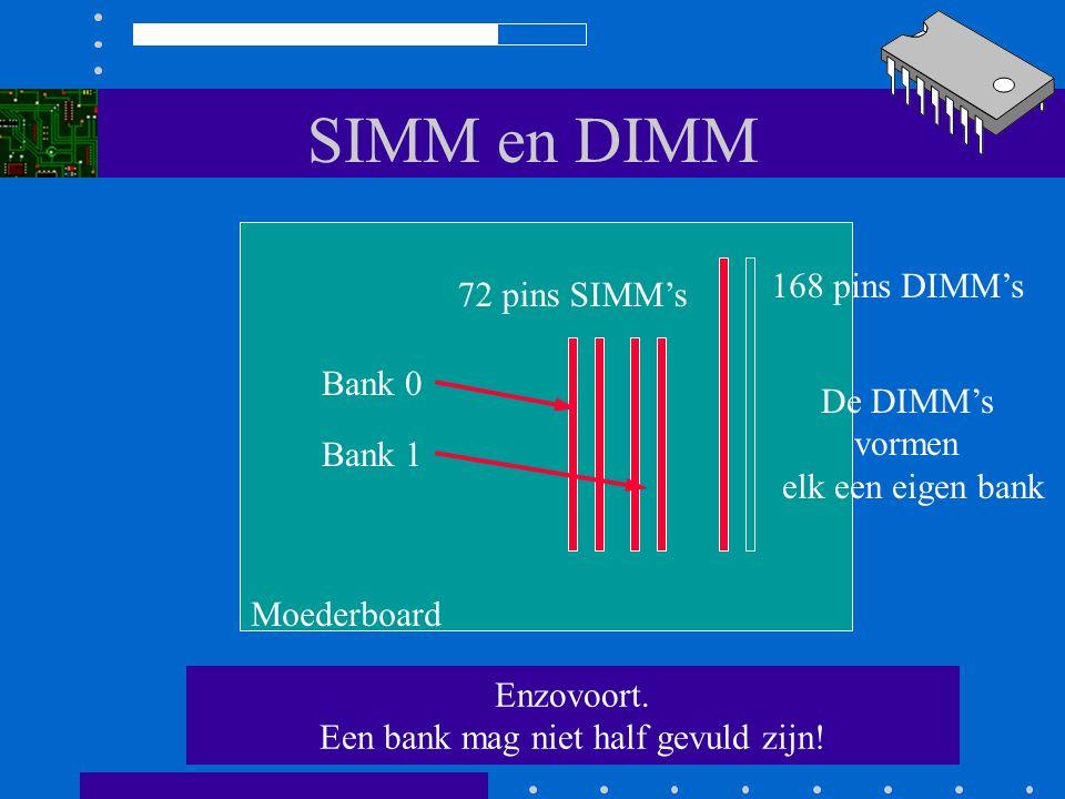 SIMM en DIMM Toegestane combinaties Moederboard 72 pins SIMMs 168 pins DIMMs Bank 0 Bank 1 De DIMMs vormen elk een eigen bank