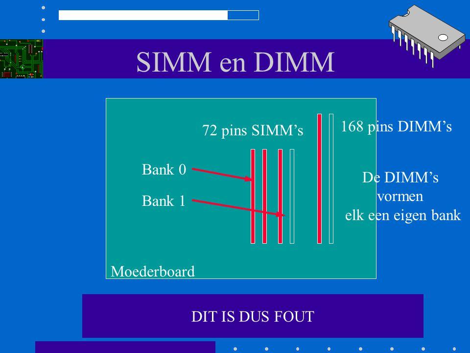 SIMM en DIMM Enzovoort. Een bank mag niet half gevuld zijn! Moederboard 72 pins SIMMs 168 pins DIMMs Bank 0 Bank 1 De DIMMs vormen elk een eigen bank