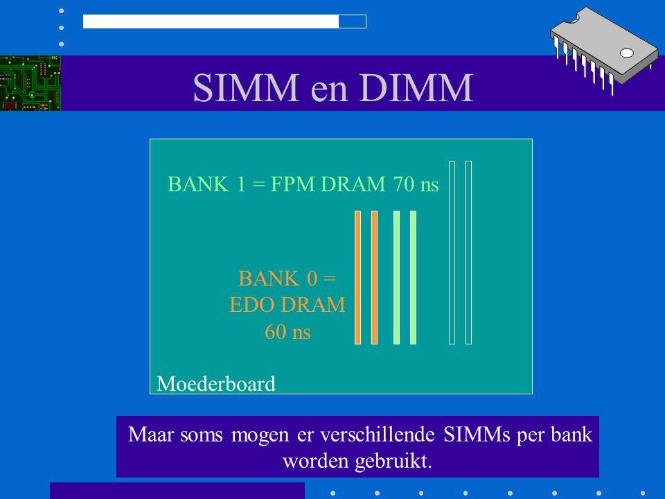 SIMM en DIMM Afhankelijk van het moederboard zijn er beperkingen. In een bank moeten altijd dezelfde SIMMs zitten Moederboard
