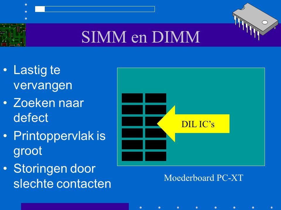 SIMM en DIMM Het grote werkgeheugen in de PC is een DRAM geheugen Vroeger (XT en 286) bevond dit geheugen zich vaak op het moederboard in de vorm van