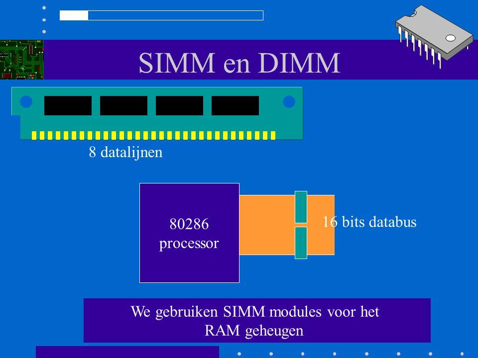SIMM en DIMM Pentium processor Hier hebben we voor een bank altijd 2 SIMMs van 72 pins nodig 72 pins SIMM 64 bits databus 72 pins SIMM