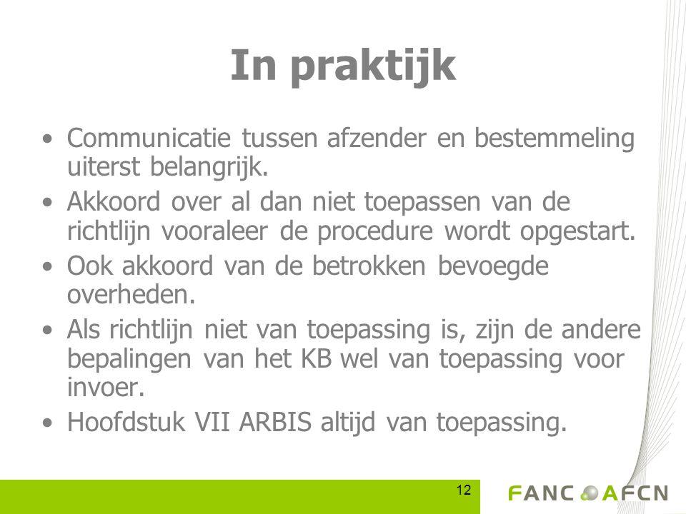 12 In praktijk Communicatie tussen afzender en bestemmeling uiterst belangrijk.