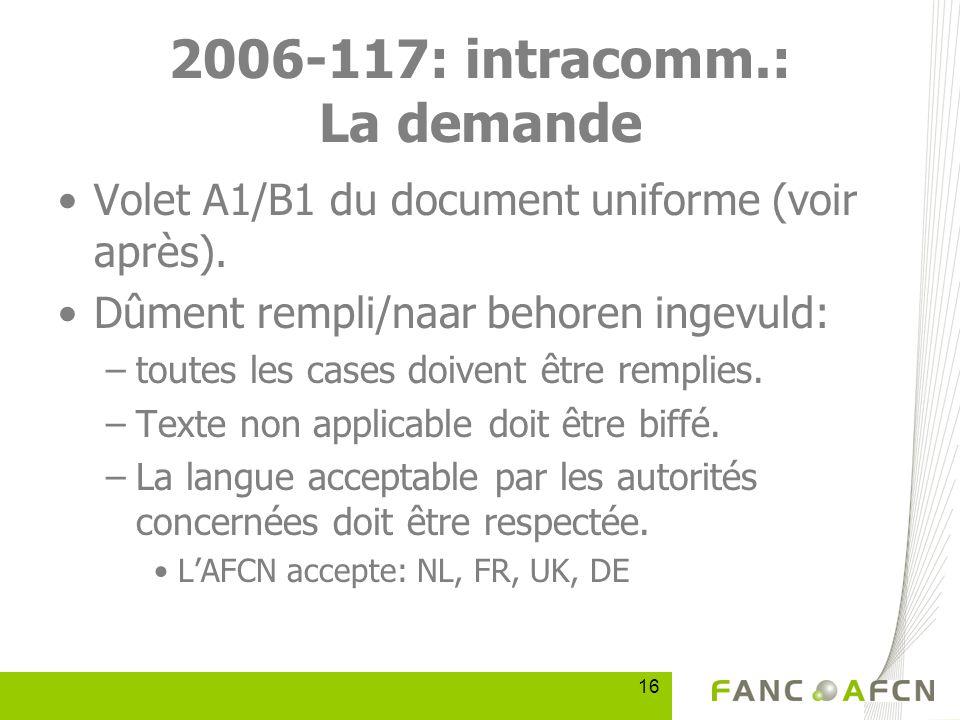 16 2006-117: intracomm.: La demande Volet A1/B1 du document uniforme (voir après).