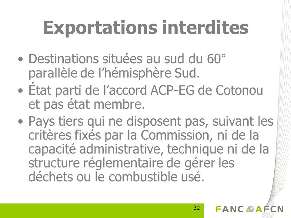 32 Exportations interdites Destinations situées au sud du 60° parallèle de lhémisphère Sud.