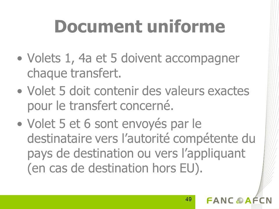 49 Document uniforme Volets 1, 4a et 5 doivent accompagner chaque transfert.
