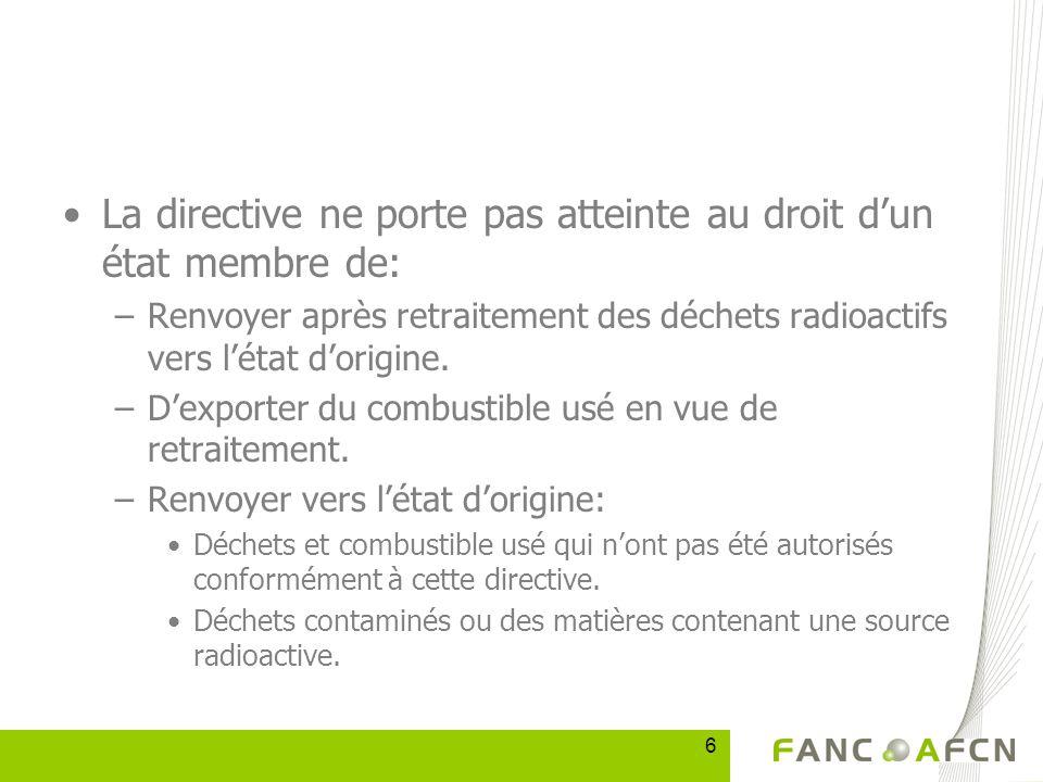6 La directive ne porte pas atteinte au droit dun état membre de: –Renvoyer après retraitement des déchets radioactifs vers létat dorigine.