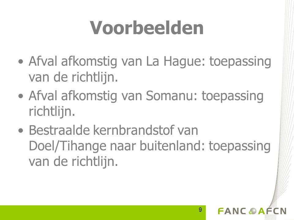 9 Voorbeelden Afval afkomstig van La Hague: toepassing van de richtlijn.