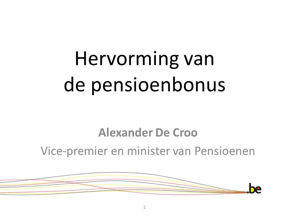 Studiecommissie Vergrijzing, juni 2012 1.pensioenbonus afstemmen op pensioenhervorming 2.hoger bedrag/gewerkte dag naarmate men meer jaren langer werkt (progressiviteit) 3.pensioenbonus beter bekend maken