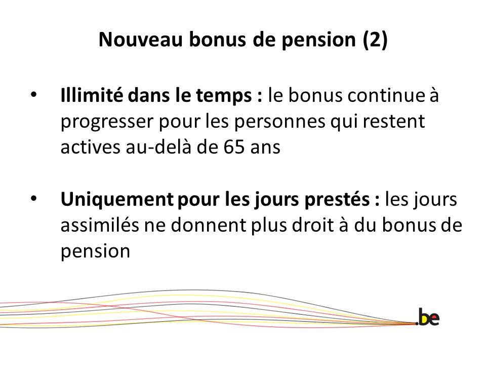 Nouveau bonus de pension (2) Illimité dans le temps : le bonus continue à progresser pour les personnes qui restent actives au-delà de 65 ans Uniquement pour les jours prestés : les jours assimilés ne donnent plus droit à du bonus de pension