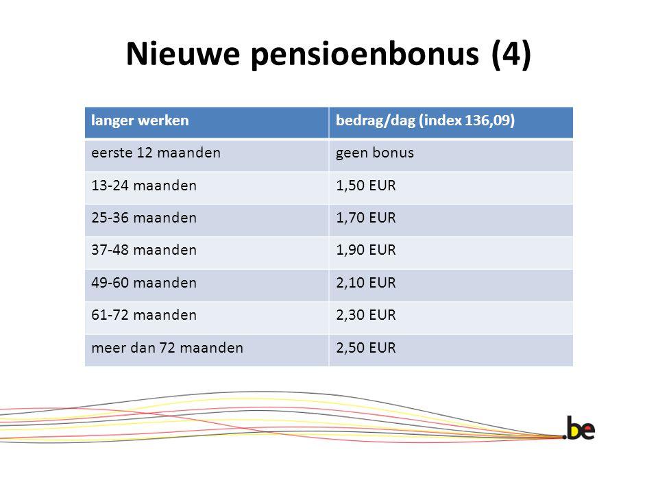 Nieuwe pensioenbonus (4) langer werkenbedrag/dag (index 136,09) eerste 12 maandengeen bonus 13-24 maanden1,50 EUR 25-36 maanden1,70 EUR 37-48 maanden1