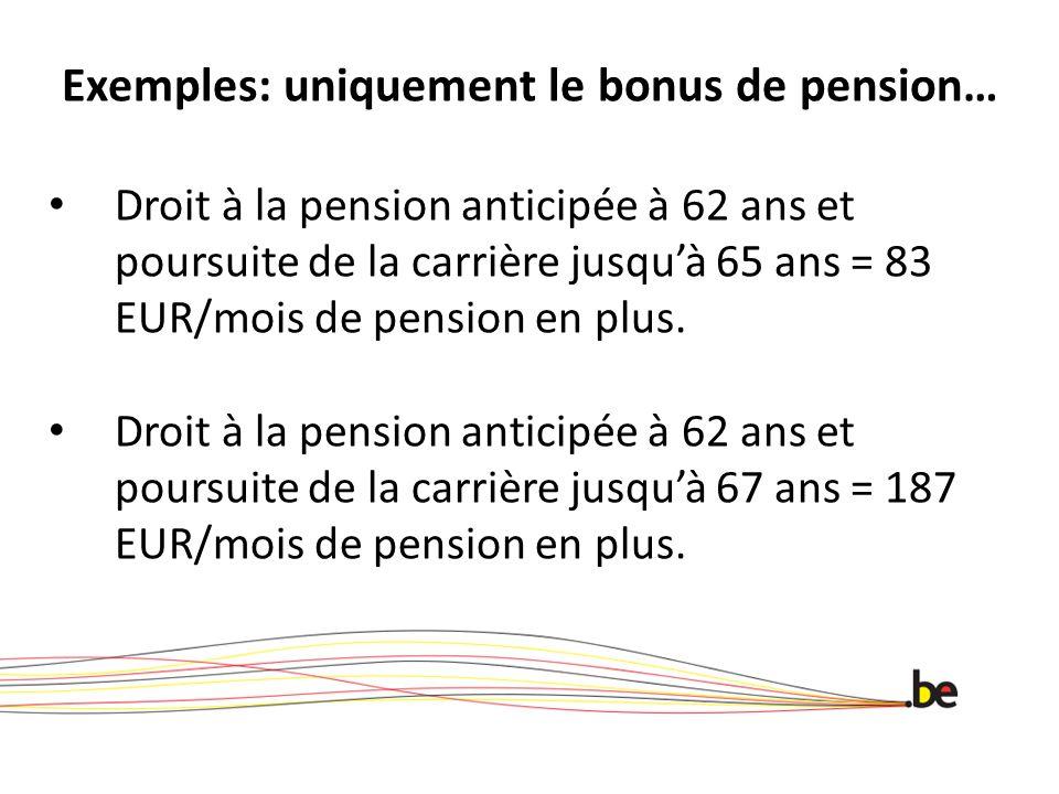Exemples: uniquement le bonus de pension… Droit à la pension anticipée à 62 ans et poursuite de la carrière jusquà 65 ans = 83 EUR/mois de pension en plus.