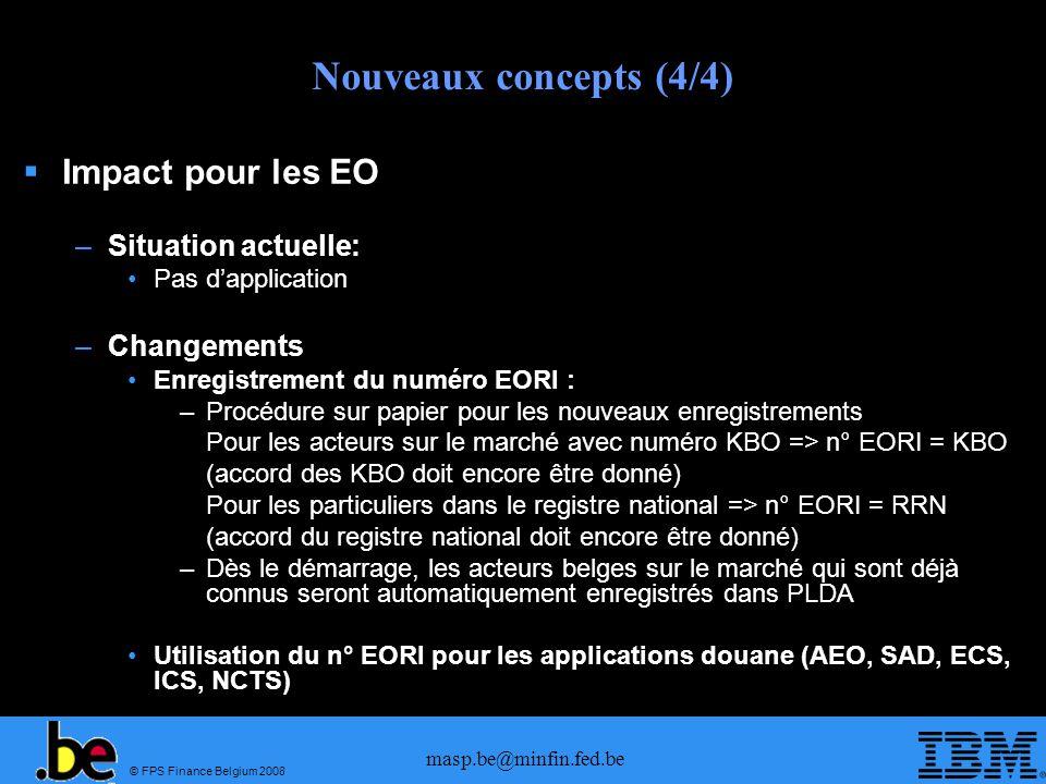© FPS Finance Belgium 2008 masp.be@minfin.fed.be Nouveaux concepts (4/4) Impact pour les EO –Situation actuelle: Pas dapplication –Changements Enregis