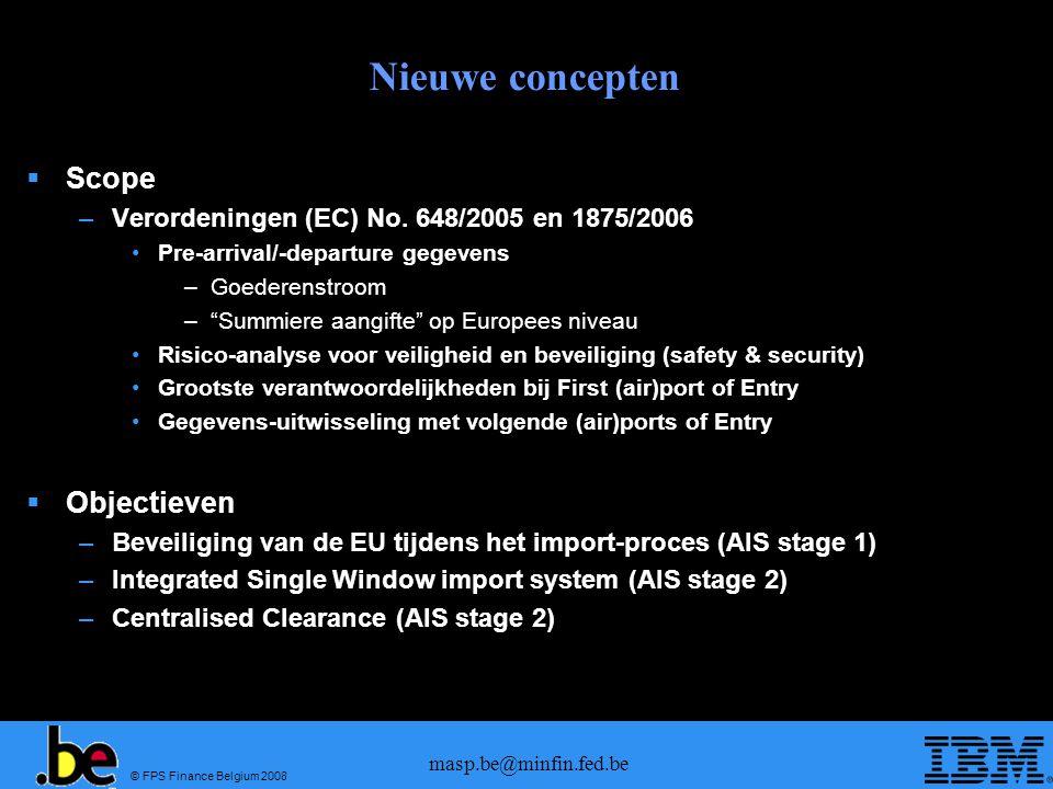 © FPS Finance Belgium 2008 masp.be@minfin.fed.be Nieuwe concepten Scope –Verordeningen (EC) No. 648/2005 en 1875/2006 Pre-arrival/-departure gegevens