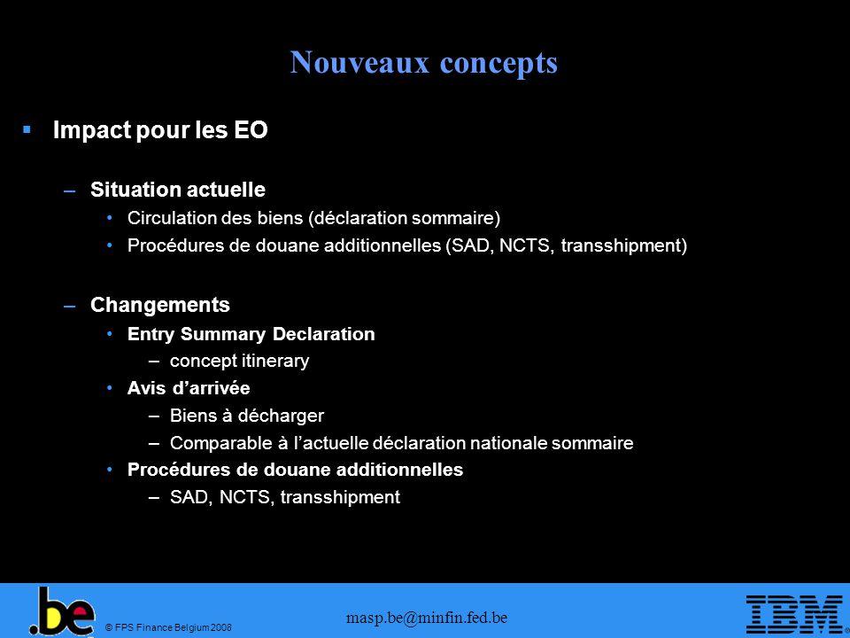 © FPS Finance Belgium 2008 masp.be@minfin.fed.be Nouveaux concepts Impact pour les EO –Situation actuelle Circulation des biens (déclaration sommaire)