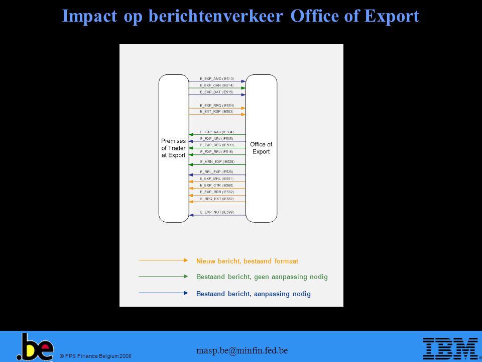 © FPS Finance Belgium 2008 masp.be@minfin.fed.be Impact op berichtenverkeer Office of Export Nieuw bericht, bestaand formaat Bestaand bericht, geen aa