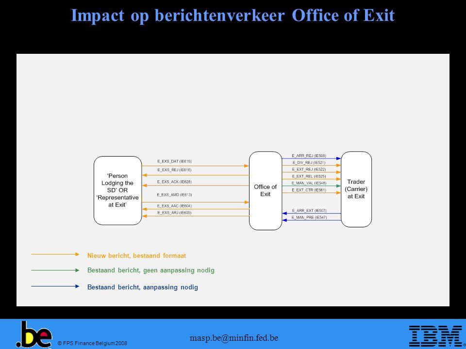 © FPS Finance Belgium 2008 masp.be@minfin.fed.be Impact op berichtenverkeer Office of Exit Nieuw bericht, bestaand formaat Bestaand bericht, geen aanp