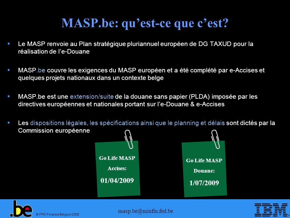 © FPS Finance Belgium 2008 masp.be@minfin.fed.be MASP.be: quest-ce que cest? Le MASP renvoie au Plan stratégique pluriannuel européen de DG TAXUD pour