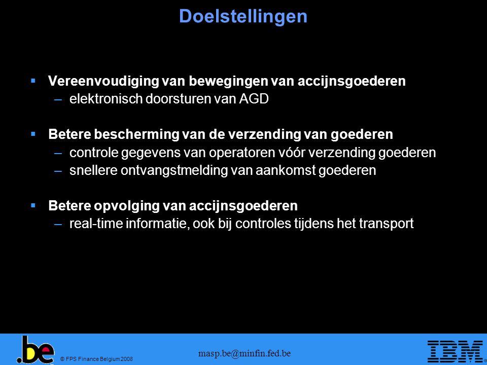 © FPS Finance Belgium 2008 masp.be@minfin.fed.be Doelstellingen Vereenvoudiging van bewegingen van accijnsgoederen –elektronisch doorsturen van AGD Be