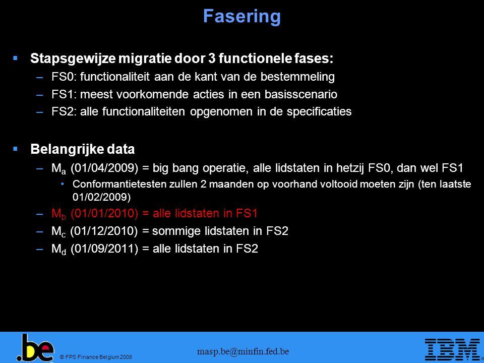 © FPS Finance Belgium 2008 masp.be@minfin.fed.be Fasering Stapsgewijze migratie door 3 functionele fases: –FS0: functionaliteit aan de kant van de bes