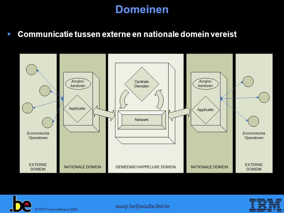 © FPS Finance Belgium 2008 masp.be@minfin.fed.be Domeinen Communicatie tussen externe en nationale domein vereist