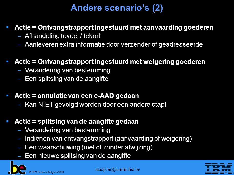 © FPS Finance Belgium 2008 masp.be@minfin.fed.be Andere scenarios (2) Actie = Ontvangstrapport ingestuurd met aanvaarding goederen –Afhandeling teveel