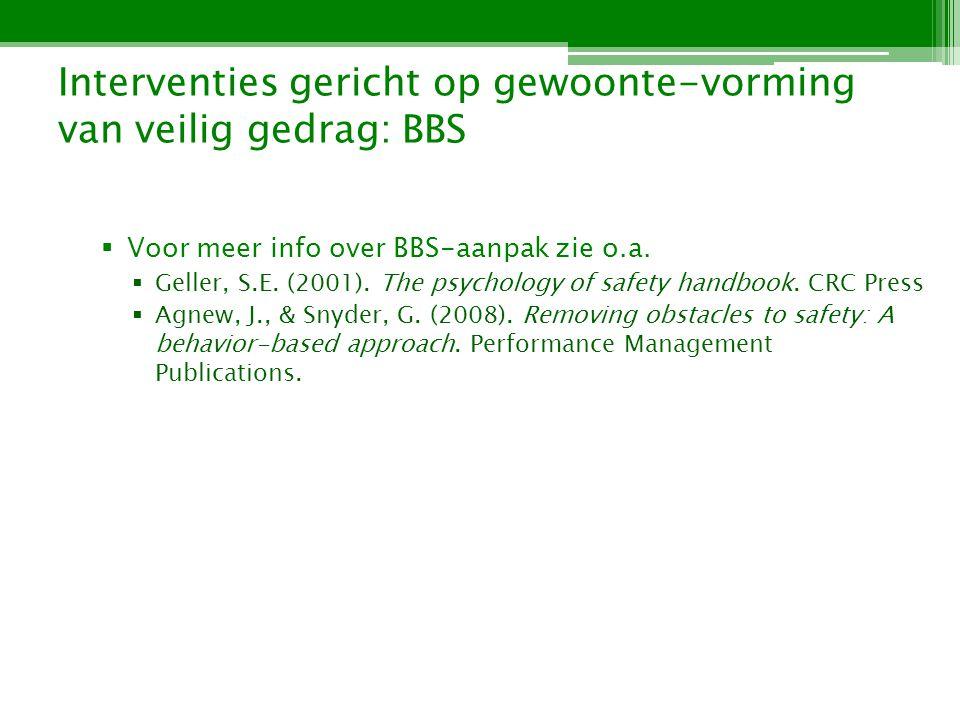 Interventies gericht op gewoonte-vorming van veilig gedrag: BBS Voor meer info over BBS-aanpak zie o.a.
