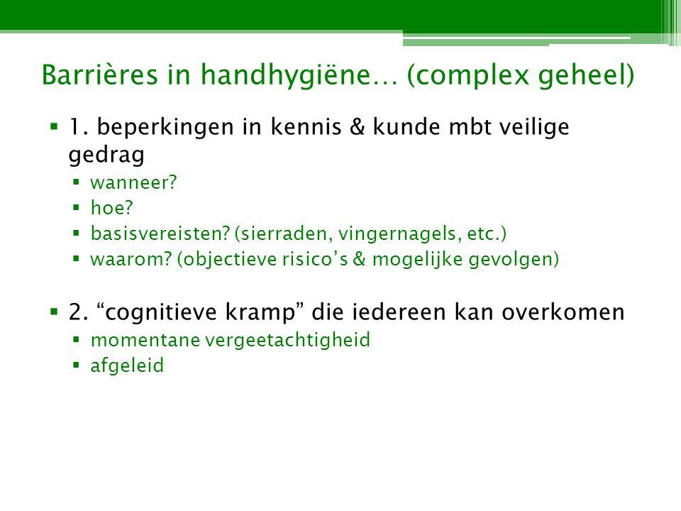 Barrières in handhygiëne… (complex geheel) 1.