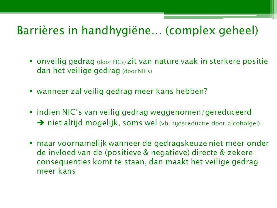 Barrières in handhygiëne… (complex geheel) wanneer is dit het geval.