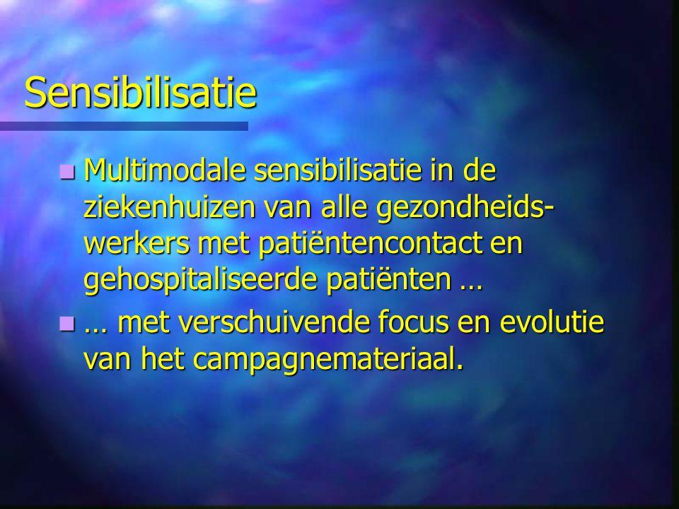 Sensibilisatie Multimodale sensibilisatie in de ziekenhuizen van alle gezondheids- werkers met patiëntencontact en gehospitaliseerde patiënten … Multi