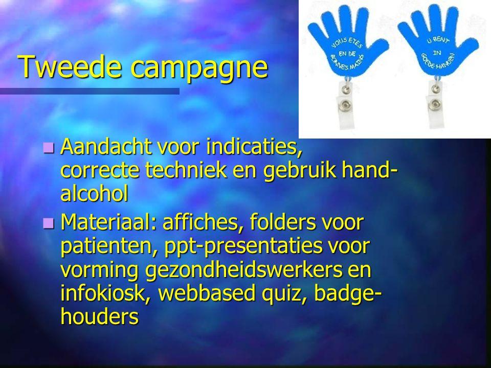 Tweede campagne Aandacht voor indicaties, correcte techniek en gebruik hand- alcohol Aandacht voor indicaties, correcte techniek en gebruik hand- alco