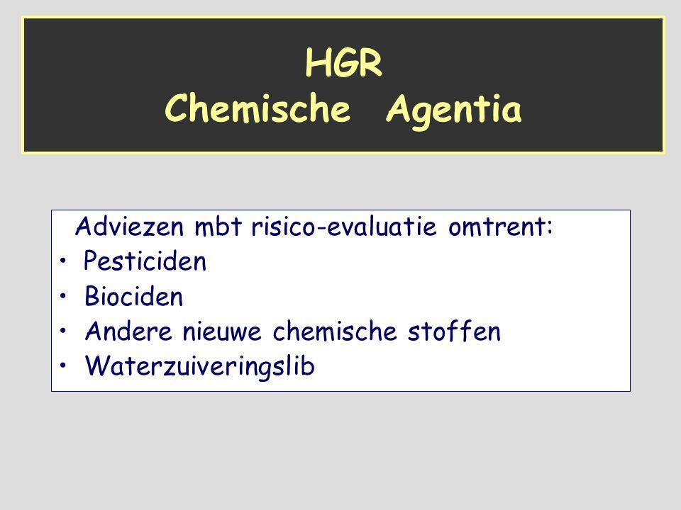HGR Chemische Agentia Adviezen mbt risico-evaluatie omtrent: Pesticiden Biociden Andere nieuwe chemische stoffen Waterzuiveringslib