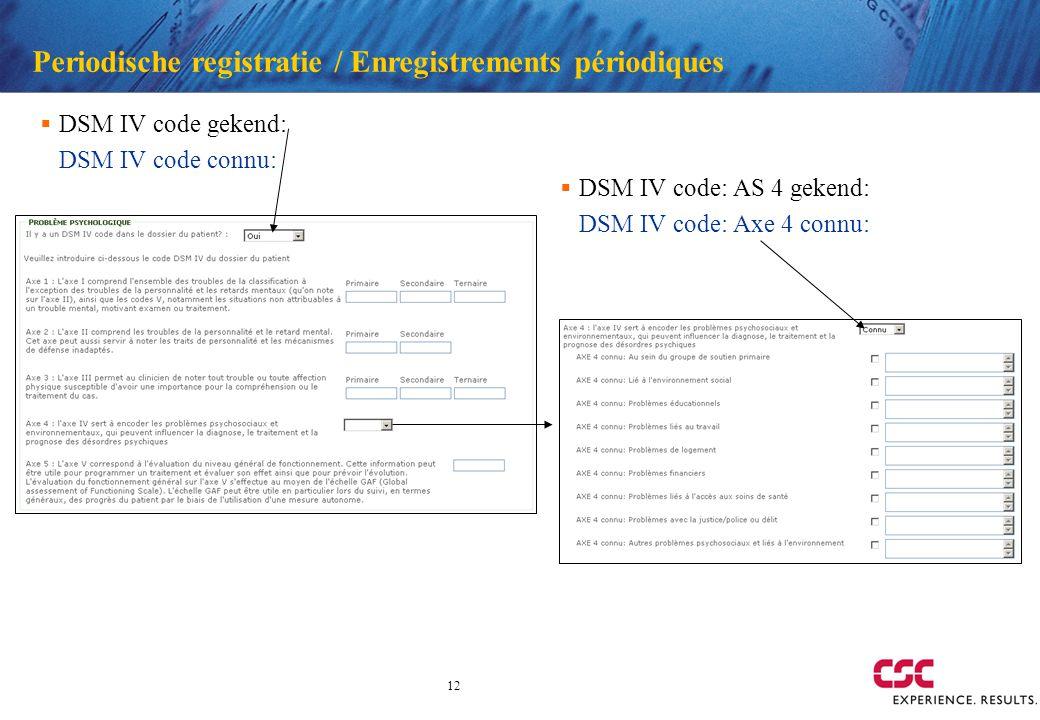 12 Periodische registratie / Enregistrements périodiques DSM IV code gekend: DSM IV code connu: DSM IV code: AS 4 gekend: DSM IV code: Axe 4 connu: