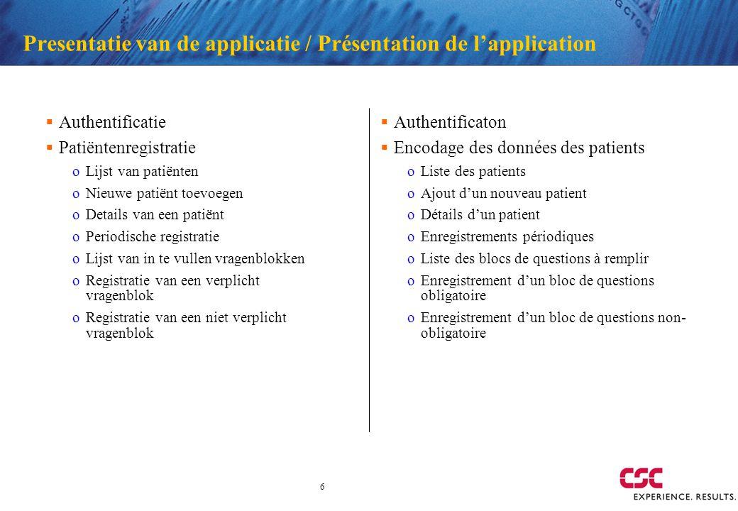 6 Presentatie van de applicatie / Présentation de lapplication Authentificatie Patiëntenregistratie oLijst van patiënten oNieuwe patiënt toevoegen oDe