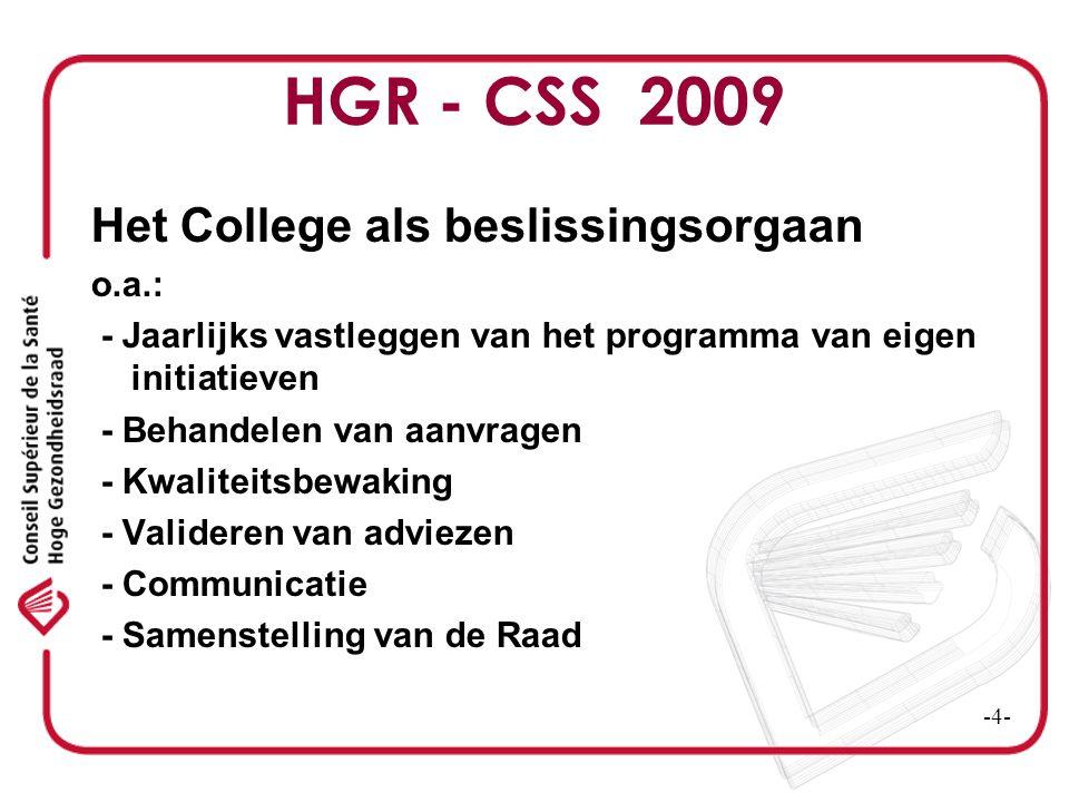 HGR - CSS 2009 Het College als beslissingsorgaan o.a.: - Jaarlijks vastleggen van het programma van eigen initiatieven - Behandelen van aanvragen - Kw
